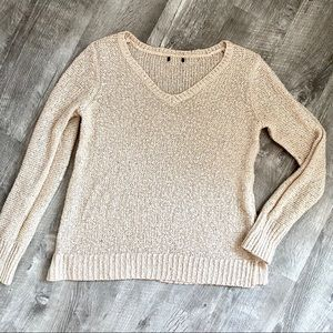 Banana Republic Sequin Knit Sweater Tan Sparkle S